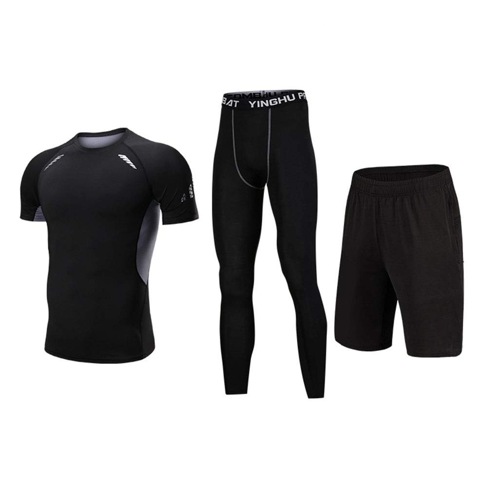 Wuxingqing Gym Wear Fitness Bekleidung Set 3 PC Männer Workout Laufen Athletic Kleidung Sets mit Compression Enge Hosen, Compression Kurzarm T-Shirt, Shorts (Color : Black, Size : L)