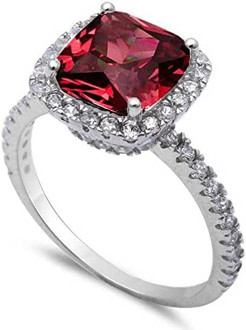 Cushion Cut Simulated Ruby & Cubic Zirconia .925 Sterling Silver Ring Sizes 5-10