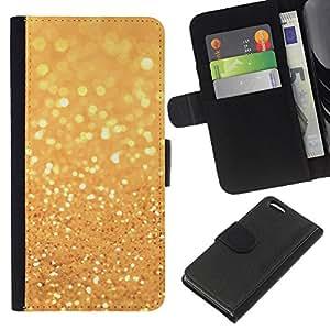 WINCASE Cuadro Funda Voltear Cuero Ranura Tarjetas TPU Carcasas Protectora Cover Case Para Apple Iphone 5C - purpurina dorada brilla el bling brillante