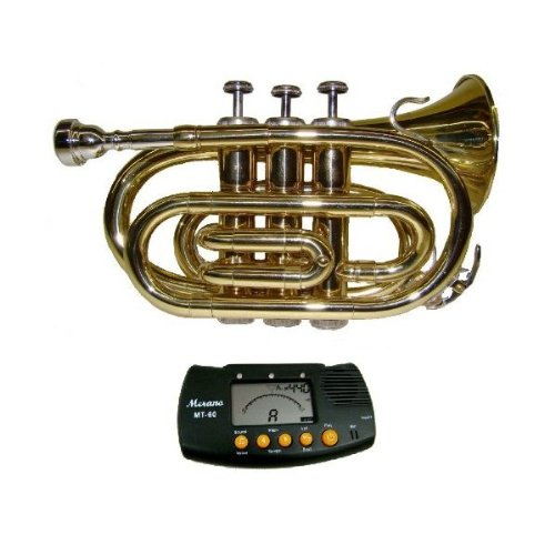 MERANO GOLD LACQUER POCKET TRUMPET WITH CASE + FREE METRO TUNER by Merano