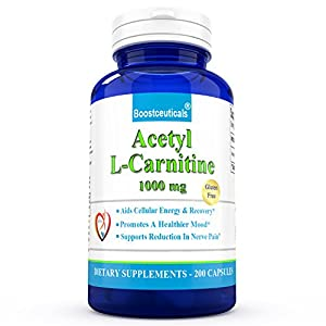 ALCAR Acetyl L Carnitine 1000 mg Daily Supplement 200 Capsules ALC Natural L Carnitine 1000mg Daily Dose 100 Day Supply by BoostCeuticals