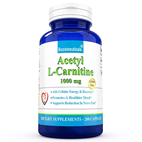 ALCAR Acetyl L Carnitine 1000 mg Supplement 200 Capsules Natural L Carnitine 1000mg by BoostCeuticalsALCAR