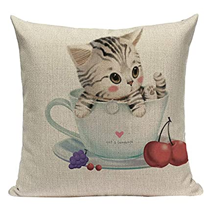 Amazon.com: Fashion Cushion Cover Cute Animal Cat Pillow ...