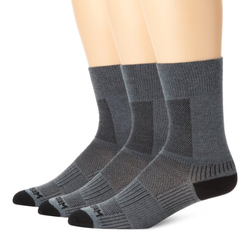 (Wrightsock Men's Coolmesh Ii Crew 3 Pack Socks, Grey, Sock Size:10-13/Shoe Size: 6-12)