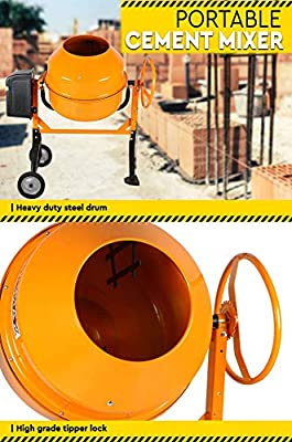 NEW 200L Portable Cement Mixer 1000W Electric Construction Concrete Mortar  Mixer