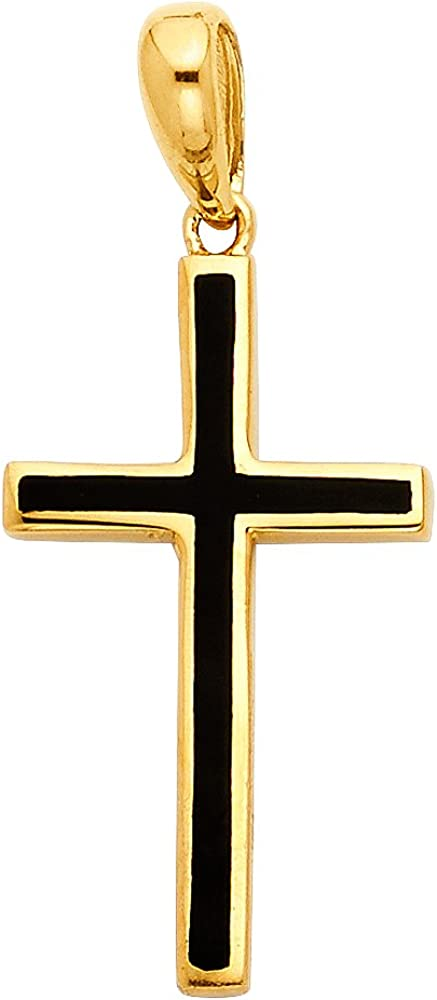 14K Yellow Gold Cross with Black Enamel Charm Pendant with 1.2mm Singapore Chain Necklace