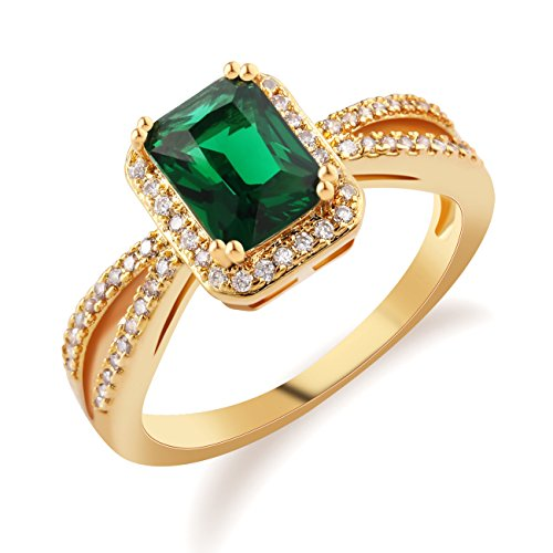 Gold Tone Green Ring - GULICX Emerald-Cut Cz Green Stone Gold Tone Statement Ring Size 7,8,9,10