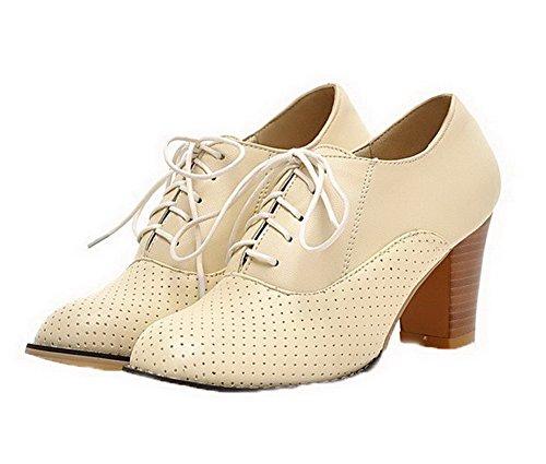 scarpe Pu Allhqfashion Delle Rotonda Chiuse Con Donne Tacchi Beige Toe Lacci Solido Pompe Alti wxwfn0P