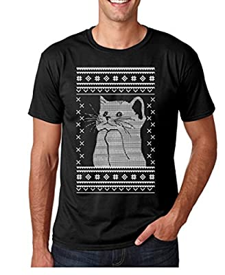 Funnwear Cat Meowy Ugly Christmas Sweater Style Shirt, Funny Cat Holiday Premium Men's T-Shirt