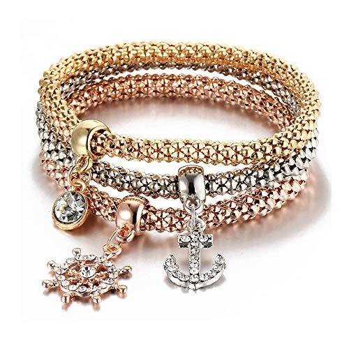 UNJ 3PCS Gold/Silver/Rose Gold Corn Bracelet Life Tree Owl Crown Elephant Anchor Multiple Charm Multilayer Bracelet (Anchor)