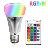Zeben E26 LED Light Bulb 10W RGB Color Changing Dimmable RGBW LED Light Bulbs Daylight 6000k A19 Lamp with Remote...