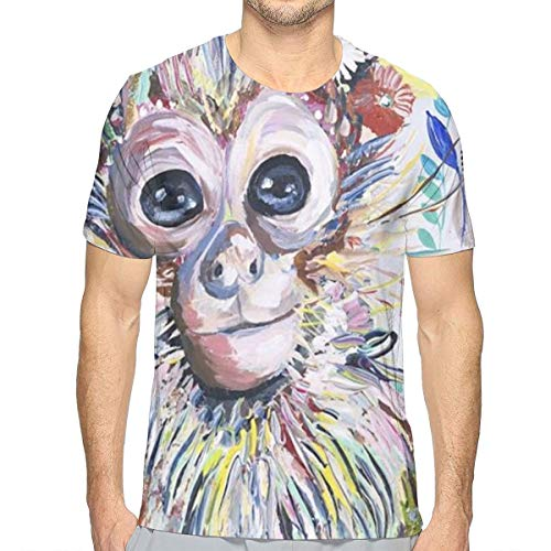 LIN. Mens Crewneck Shirt, Colorful Animal Monkey Floral Short Sleeve Sportswear for Holiday Riding Workout, 3D Print Regular Big and Tall Sizes Tees, Casual Soft Athletic Henley Shirt