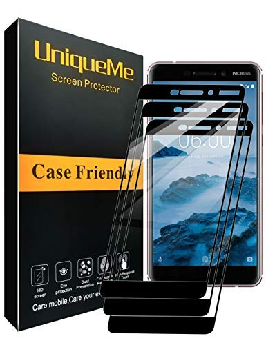 [3 Pack] INGLE Compatible with Nokia 6.1 / Nokia 6 2018 Screen Protector, Full Coverage Tempered Glass Screen Protector Film Edge to Edge Protection for Nokia6.1 / Nokia 6 2018【Not Fit for Nokia 6】 (Nokia Screen Big)