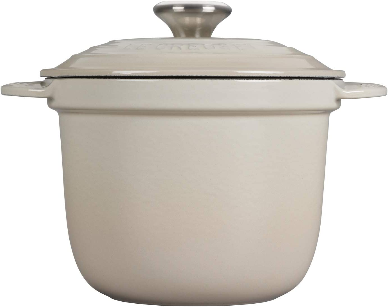 Le Creuset of America LS4101S-18716SS Rice Pot with SS Knob & Stoneware Insert, 2.25 QT, Meringue