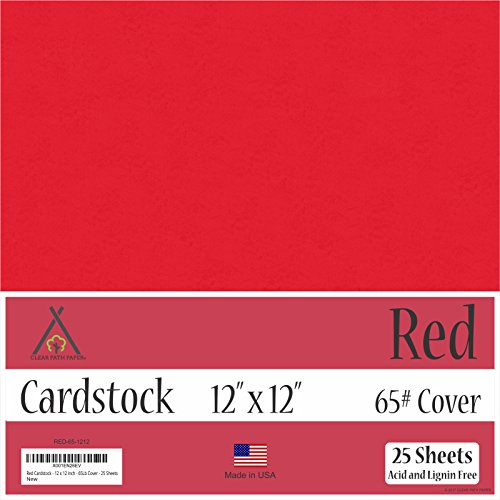 Red Cardstock - 12 x 12 inch - 65Lb Cover - 25 Sheets by Clear Path Paper
