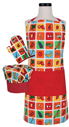 Handstand Kitchen Child's 'Farmers Market' Apron, Mitt and Chef's Hat Set by Handstand Kitchen