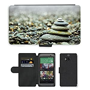 Hot Style Cell Phone Card Slot PU Leather Wallet Case // M00150049 Stones Pebbles Stack Pile Zen // HTC One M8