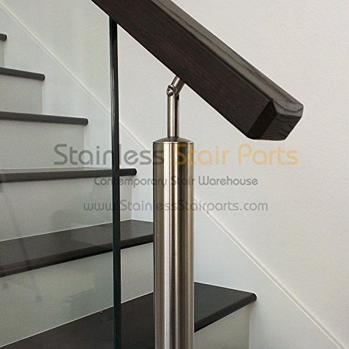 Stainless Steel Adjustable Stair Handrail Support E030/S. Indoor and Outdoor Railing Projects. Connects Handrail to Newel Posts and Secures Stair Handrails in Place.