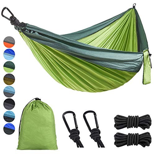 Lifeleads Outdoor Camping Hammock-Nylon Double Portable Parachute Lightweight for Outdoor or Indoor Backpacking Travel Hiking (Bright Green & Dark Green, Double)