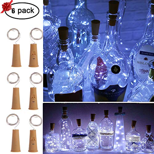 Wine Bottle Fairy Lights with Cork-MEKBOK 5 Lighting Modes + Timer 6 Pack Copper Wire String Starry LED Lights for Bottle DIY, Party, Decor, Valentine's Day, -