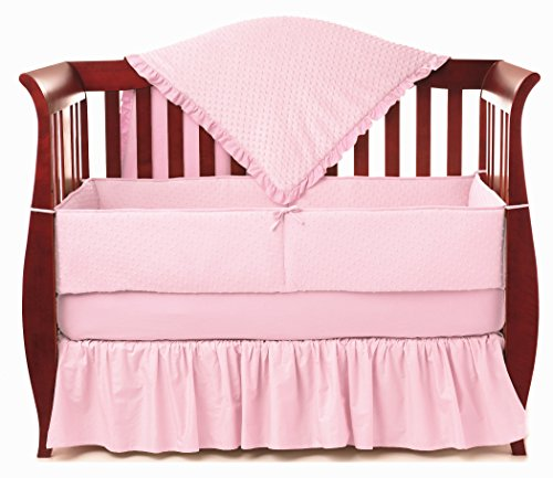 - American Baby Company Heavenly Soft Minky Dot 4-Piece Crib Bedding Set, Pink, for Girls
