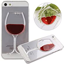 Nsstar iPhone 4s Case,Liquid Case for iPhone 4S,Case for iPhone 4s,Case for iPhone 4,Hard Case for iPhone 4s,Fashion Creative 3D Design Flowing Liquid Red Wine Glass Red Lip High Heels Clear Back Hard Case Cover for Apple iPhone 4 4S (Red Wine Glass)