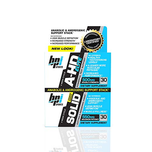 (BPI Sports A-HD Elite/Solid (30 Capsules) – Men's Testosterone Booster – Healthy Muscle, Strength, & Performance Support – Promotes Natural Fat Loss & Libido – 30 Servings – 550mg)