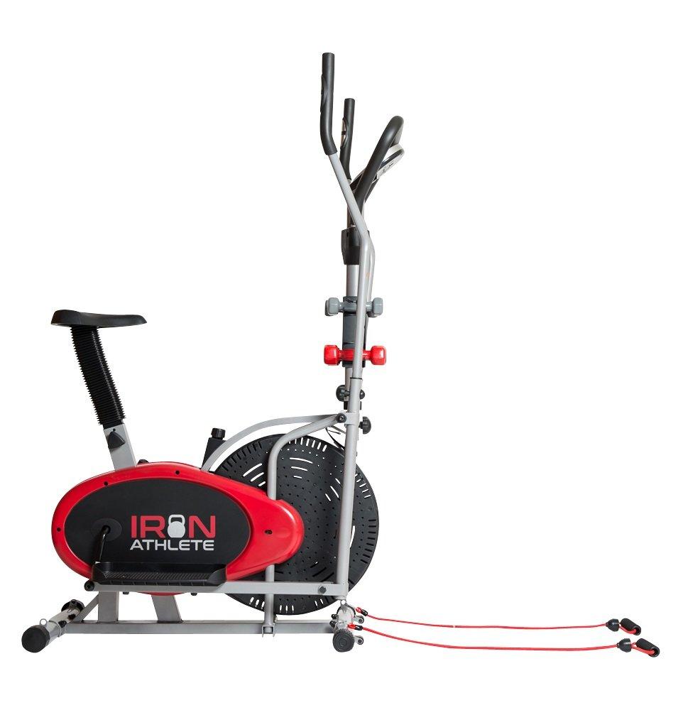 Hierro atleta elíptica 4-en-1 bicicleta estática elíptica, gimnasio en casa equipo, diseño compacto, mano pesos, bandas de resistencia + Bonus deportes ...
