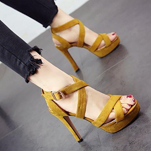 Europeo tacón y Parte ahuecó Estilo Alta Zapatos de tacón Toe de Slit Moda yellow Alto Sandalias Verano YMFIE xUZ7wIvqq