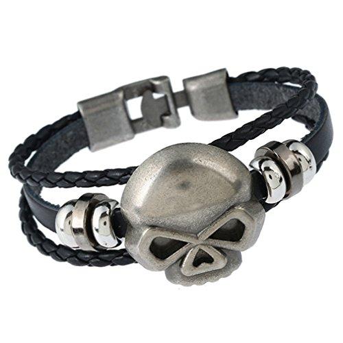 Skeleton Costume Skull Ruler (PopJ Charm Skull Skeleton Leather Band Unisex Wrist Bracelet Unisex (Style C))