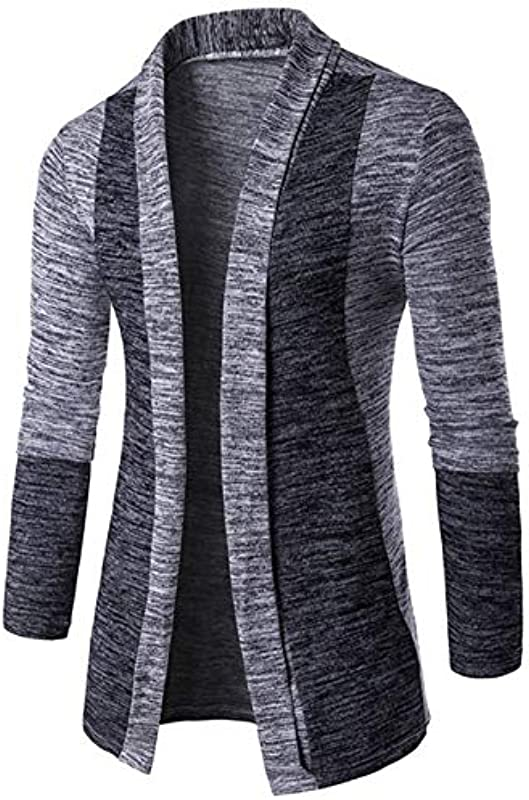 Mens Long Sleeve Cardigans Stil Einfacher Vorne Pullover Schalkragen Cardigans Frühling Herbst Elegante Langarm Strickmantel Coat: Odzież