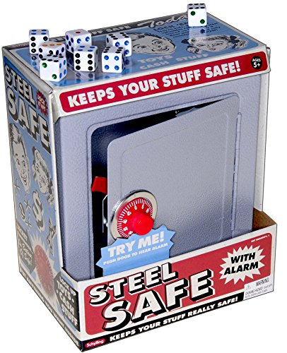 Boys Play Steel Safe_ with Combination Lock, Alarm and Coin Slot_ Bonus 8 White Dice D6 Game Dice _ Bundled Items by Deluxe Games and Puzzles