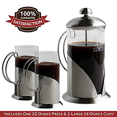 French Press Coffee, Tea & Espresso Maker By Pura Vida - Durable 304 Stainless Steel Construction