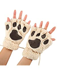 Arshiner Women Bear Plush Cat Paw Claw Glove Soft Winter Gloves Fingerless Gloves