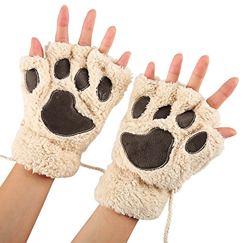 Arshiner Women Bear Plush Cat Paw Claw Glove Soft Winter Gloves  Beige 1