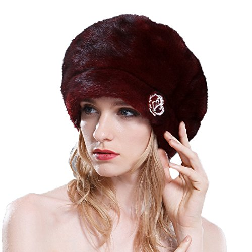 URSFUR Ladies Mink Fur Beret Hat (SAGA Burgundy) by URSFUR