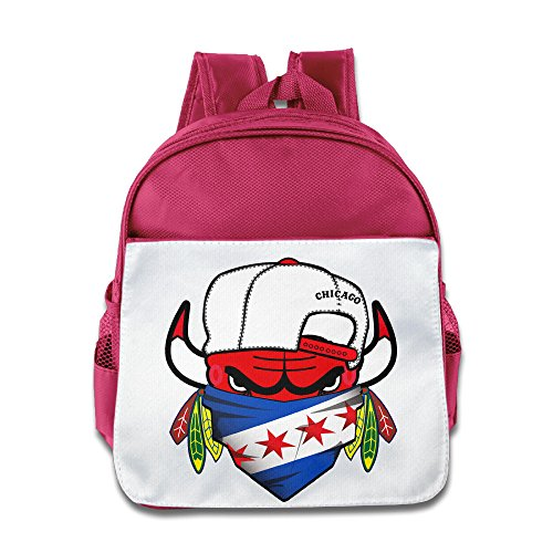 LINNA Cool Cool Chicago Team With Flag Mixed Teenager Schoolbag For Boys And Girls Pink