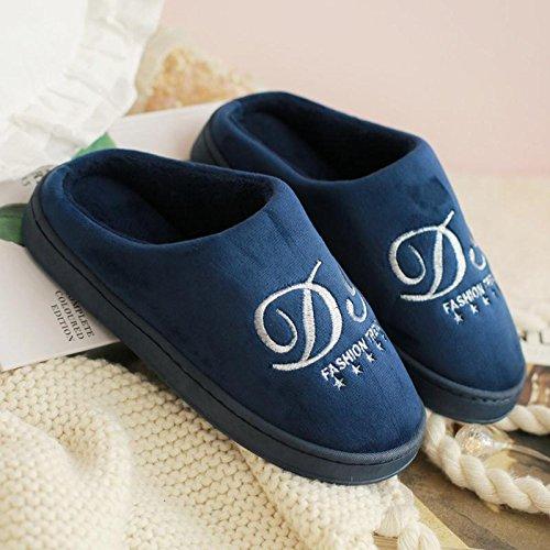 Fankou autunno inverno cotone pantofole pacchetto con coppie di spessore home anti-slittamento casa calda pantofole gli uomini e le donne spesso invernale ,35-36, blu scuro