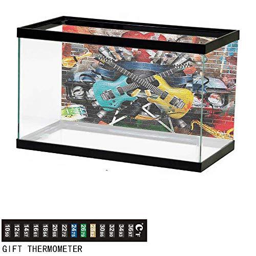 (wwwhsl Aquarium Background,Music,Collage of Music Color and Musical Instruments Street Wall Art Joyful Nostalgia Print,Multicolor Fish Tank Backdrop 60