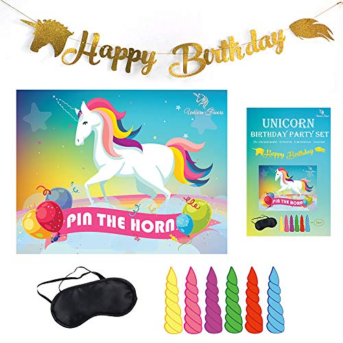 Unicorn Favors Pin The Horn On The Unicorn Birthday Game - Unicorn Party Supplies with Bonus Glitter Happy Birthday Unicorn Banner Decorations (Gold)
