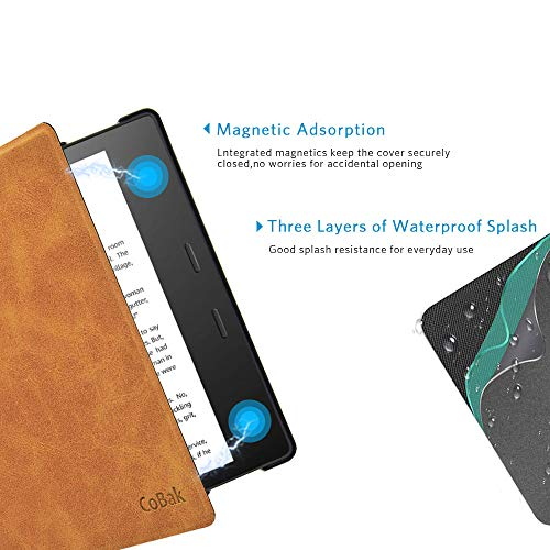 CoBak Kindle Oasis Case - Premium PU Leather Smart Cover with Auto Sleep Wake Feature for Kindle Oasis 9th 10th Generation, Slim Fit, Brown