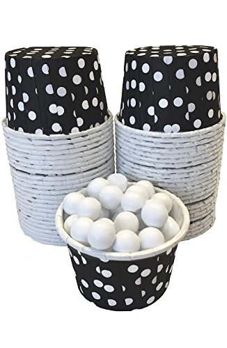 g Paper Treat Cups - Black White - Polka Dot - 48 Pack (White Mini Muffin)