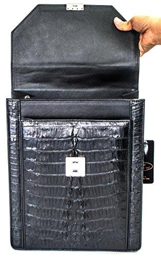Bag Hornback Mens Handbag Large Authentic Skin Black Crocodile Camera Organizer M wqWO0cIT