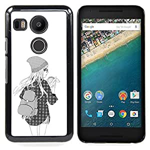 - Hipster Girl Fashion School Black White - - Snap-On Rugged Hard Cover Case Funny HouseFOR LG Google Nexus 5X
