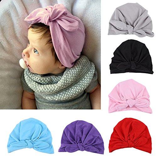 Fdit 6 Colores Sombrero de Bebé Turbante Sombrero Súper Suave Sombrero de Algodón Turbante Lindo(Rosa)