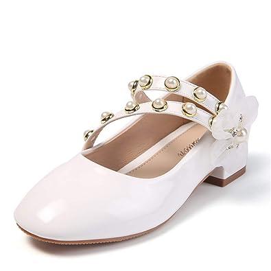 d9ade729b Fanessy Fille Chaussure Princesse Sandales en Cuir Souple Blanc Noir ...