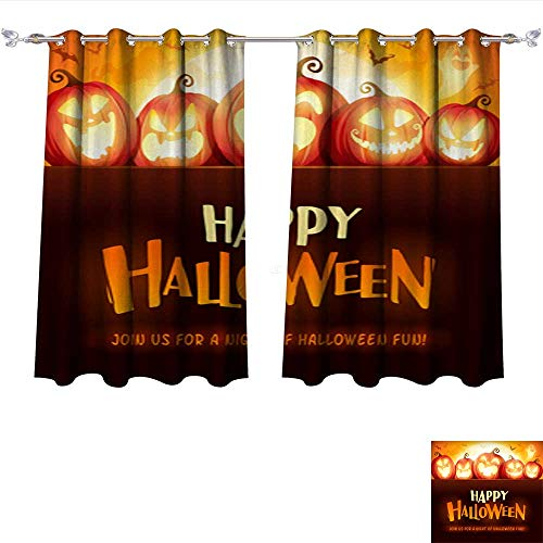 DragonBui Thermal Insulating Blackout Curtain Happy Halloween Jack O Lantern Party Halloween Pumpkin Patch in The Moonlight Pocket Insulated Tie Up Curtains W55 x L39/Pair ()