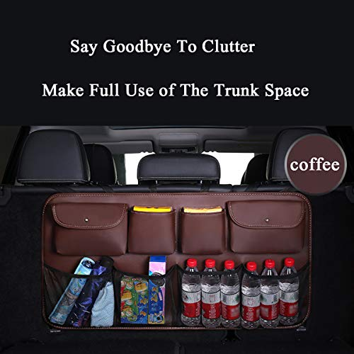 Car Trunk Organizer Hanging Backseat Car Organizer Storage Multipurpose Cargo Accessory Waterproof Dust-proof Upgrade PU Leather Space Saving Facilitator for SUV and Many Vehicles