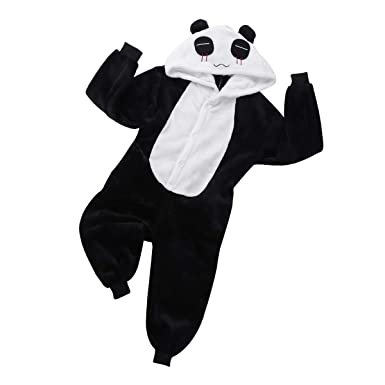 freebily unisex kinder schlafoveralls jungen madchen panda kostum flanell strampelanzug einteiler hausanzug pyjamas kapuze schlafanzug schlafstrampler