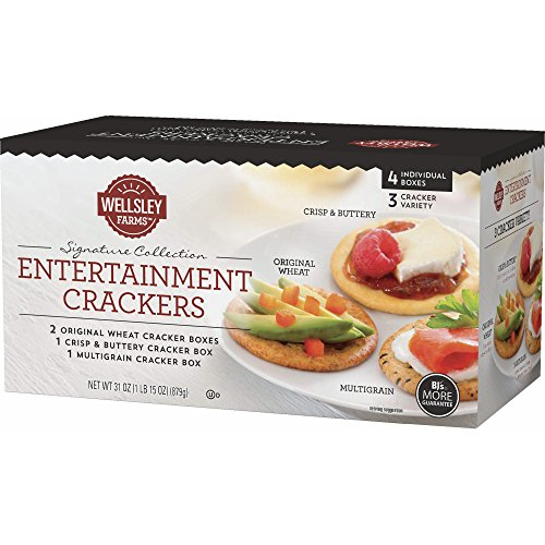 Wellsley Farms Entertainment Crackers 4 Box Variety Pack (1lb 15 oz) 2 Original Wheat, 1 Crisp & Buttery, 1 (Entertainment Crackers)
